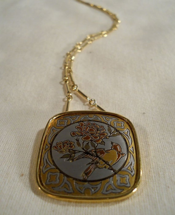 Reed And Barton Damascene Pendant Necklace In Original By