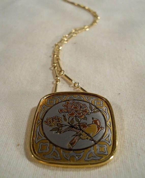 Reed and Barton Damascene Pendant Necklace in Original Box