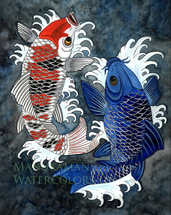 Koi fish print of a japanese styled watercolor by damon crook for Japanese koi carp paintings