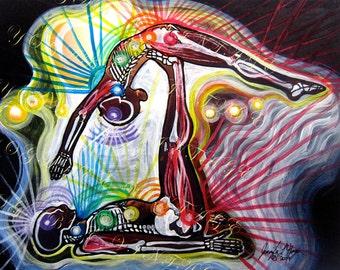 Yoga Art  Anatomy Studio Series: Whale Partner Pose ( 8 X 10 Digital Download)