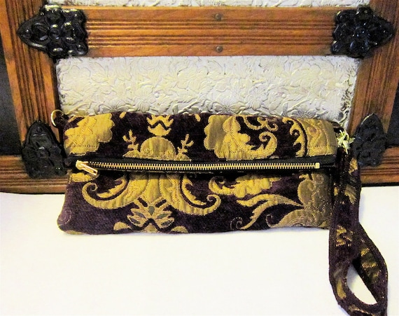 MIA Purple and Gold Carpet Bag Clutch with Purple and Gold Damask Tapestry Fabric and Detachable Shoulder Wristlet Strap