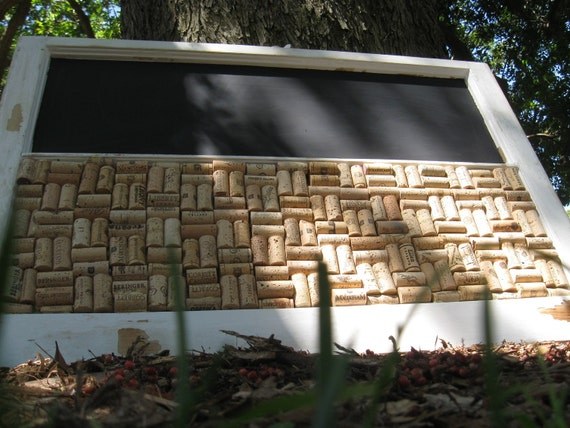 Chalk Board and Wine Cork Board Combo, Shabby Chic