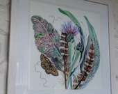 Feather Cornflower and Moth, original, hand painted framed watercolour