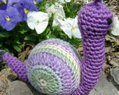 Miss Ivy Purpleluciousness - Crocheted Amigurumi Stuffed Toy Snail ready to ship