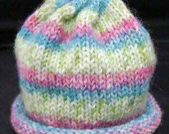 Strawberry Rhubarb Pie Knitted Baby Hat size Premie to Newborn ready to ship