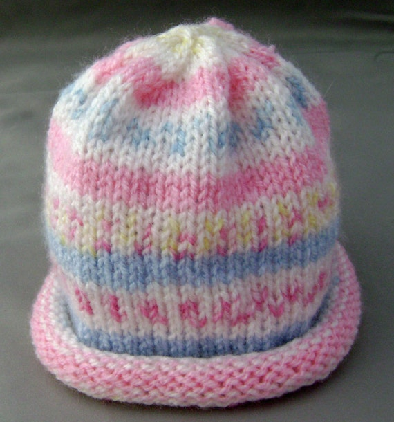 Raspberry Blueberry Tart Knitted Baby Hat in pink, blue and white, size Newborn to 6 months ready to ship