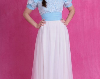 SALE - Vintage 60's Blue and White Lace Chiffon Short Sleeve Nipped Waist Prom Gown Dress With Bows Size Small