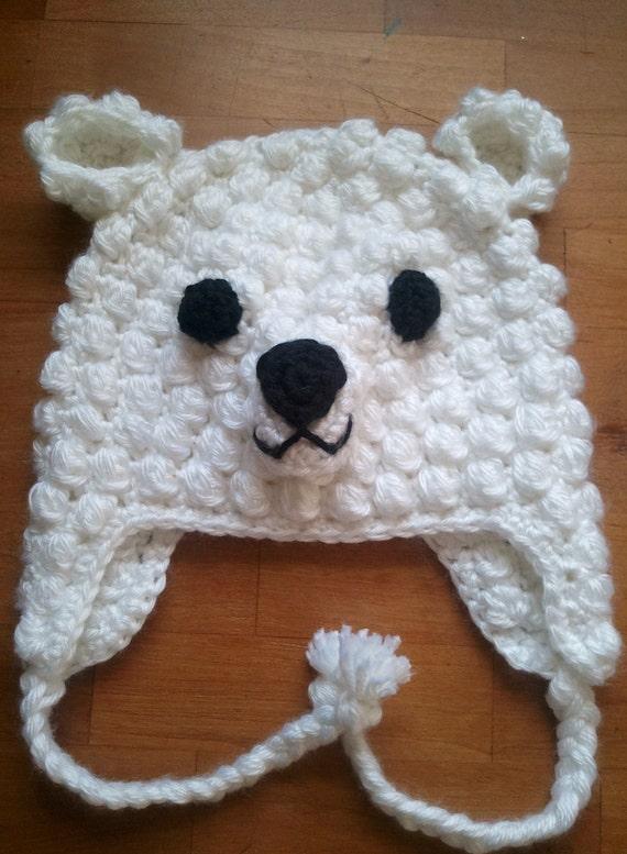 Polar Bear Hat - Newborn Bear Hat- Bear Bonnet - Baby Bear Hat - Animal Hats - Baby Hats - Bear Costume - Newborn Hat - Boy Hats - Girl Hats