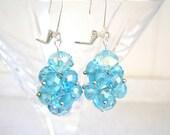 Bead Cluster Earrings Light Aqua Blue Glass Beaded Jewelry
