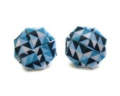 Blue Geometric Stud Earrings Oversized Large Posts Paper Origami Jewelry