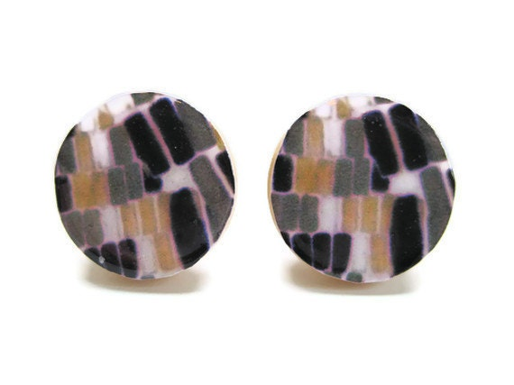 Neutral Post Earrings Brick Stone Black Taupe Cream Paper Tan Button Jewelry