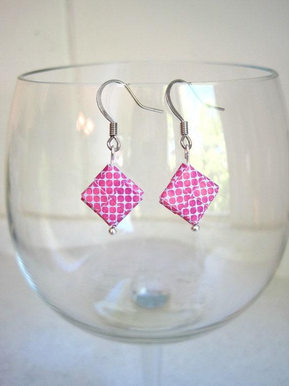 Folded paper dangle, pink polka dot gray pattern paper, paper jewelry