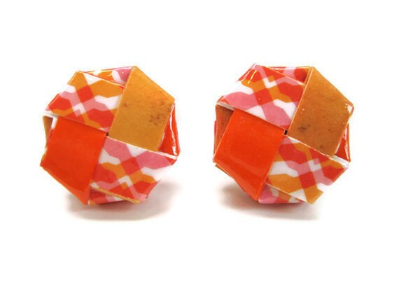 Orange Woven Paper Earrings Handmade Retro Paper Origami Jewelry