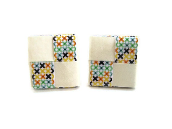 Paper Origami Earrings Cream Square Studs Multicolor Handmade Recycled Jewelry