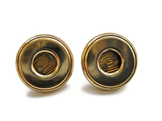 Gold Colored Button Earrings Round Circle Upcycled Button Jewelry
