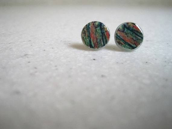Unique Earrings Small Tree Bark Paper Light Blue Button Jewelry
