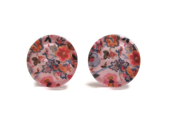 Floral Post Earrings Pink Blue Paper Button Jewelry