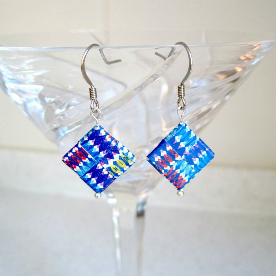 Paper Dangle Earrings Red Blue Yellow Unique Origami Jewelry