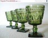 Spring Sale Vintage 4 Green Park Lane Water Goblets Colony Glass Set of 4 1950s Chalice Pedestal Square Base