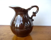 Vintage Provincial Pitcher - Mocha Brown Porcelain High Gloss Glaze - 1 Quart - 1970 - JI Japan