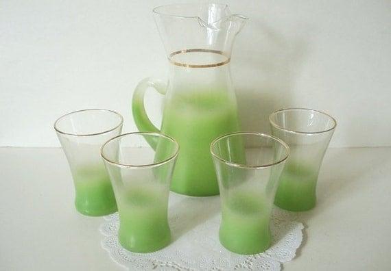 Vintage Blendo Green Pitcher Glasses Barware 1950s 1960s