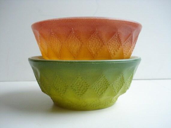 Vintage 2 Fire King Kimberly Bowls - Green & Orange