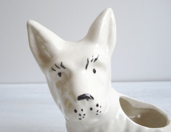 Vintage White Scottie Dog Ceramic Planter