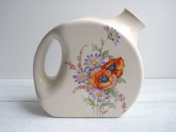 Vintage Art Deco Ceramic Water Pitcher with Poppy Floral Pattern by Universal