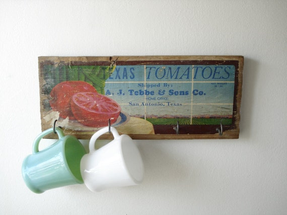 Vintage Wood Crate Sign - Key Rack - Texas Tomatoes - Primitive Kitchen Decor