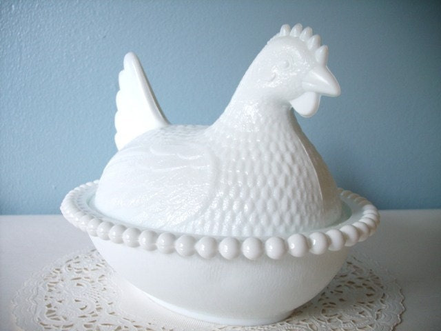 Vintage Large Milk Glass Hen On Nest Indiana Glass 1960