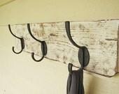 Distressed wood, coat hanger / towel holder, shabby chic home decor, cottage decor