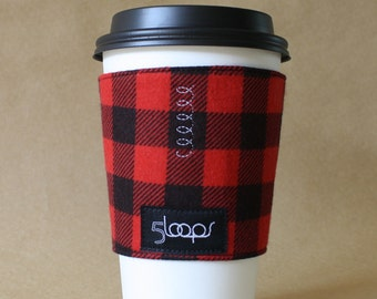 Coffee Cup Cozy Buffalo Plaid Resuable Coffee Cup Sleeve in Red and Black Plaid Buffalo Check