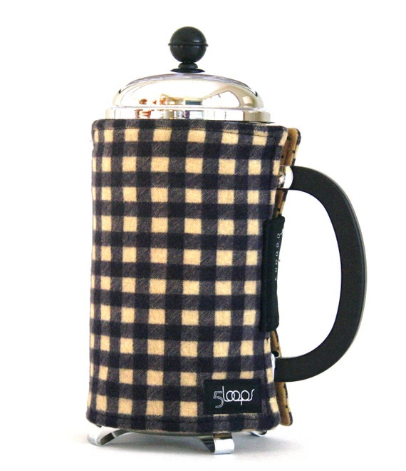French Press Coffee Cozy -Tan & Black Plaid Flannel