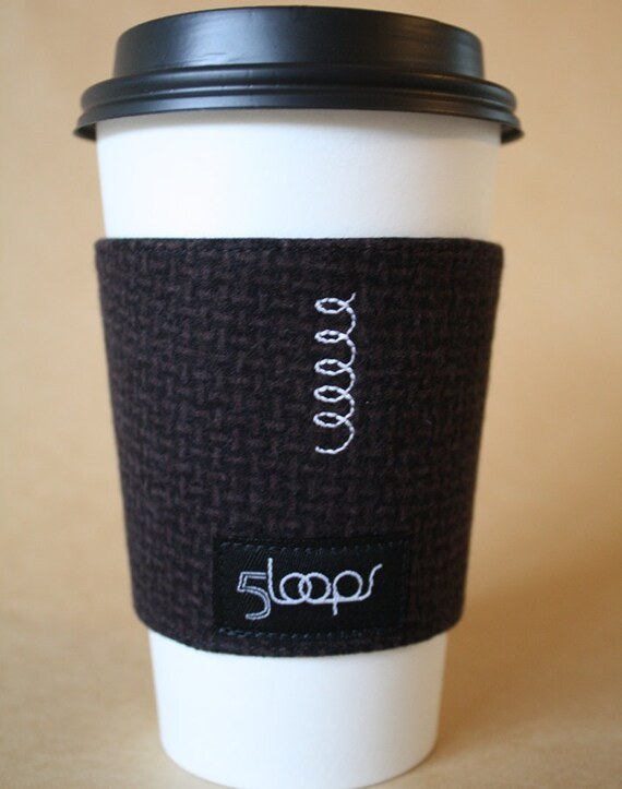 Reusable Coffee Cup Cozy- Brown Tweed Print Flannel