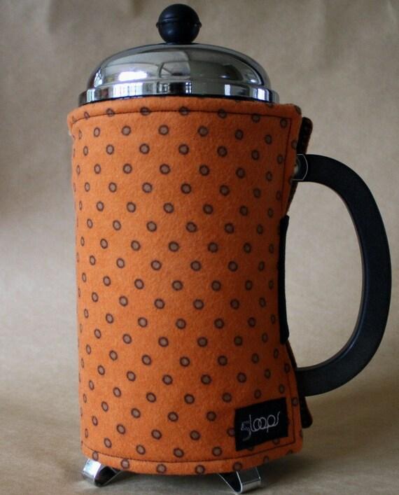 French Press Coffee Cozy - Orange & Brown Dot Flannel