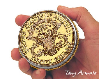 """1882 Twenty Dollar Gold Piece - An Oversized BIG 3"""" COIN - Treasure, Trinket & Keepsake Box • Rare and Collectible With A Free Gift Inside!"""