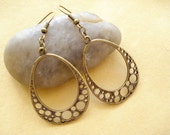 Large Tear Drop Earrings - Anitqued Bronze DE232