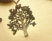 Large Vintage Bird on the Tree Necklace- Antiqued Brass NC200