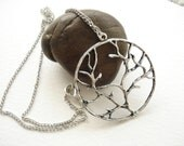 Round Tree Necklace - Antiqued Silver Tone NC110