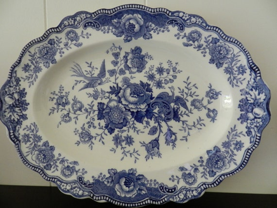 Old Hall Ware Blue Transfer Ware Platter