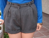 Grey Checker High-Waist Cuffed Shorts (1011)