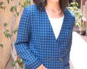 Blue and Black Checkered Updated Vintage Blazer (1016)