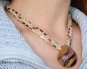 Womens Macramé Hemp Beaded Necklace with Handmade Red Earth Glass Pendant Focal