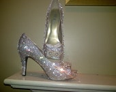 Handmade  Crystal Shoes in Navy size 8