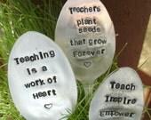 Teacher gift - Garden Marker & Decoration - Teacher gift -Upcycled silverware - Handstamped