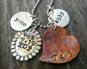 Mother's Necklace  - Personalized Mom necklace - Eclectic Mixed metal necklace - Hand stamped necklace
