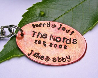 Personalized key chain - Custom keychain - Christmas Gift Dad - Christmas Gift wife - Copper Keychain - Dad Gift - Mens gift