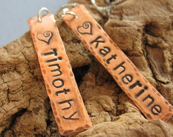 Mom Necklace -Personalized Mom Necklace - Copper Tag Necklace- Custom Mom necklace