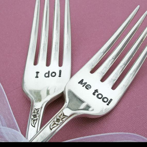 Wedding Forks - I do  Me too Wedding forks -  Custom Wedding Forks - Wedding Accessories