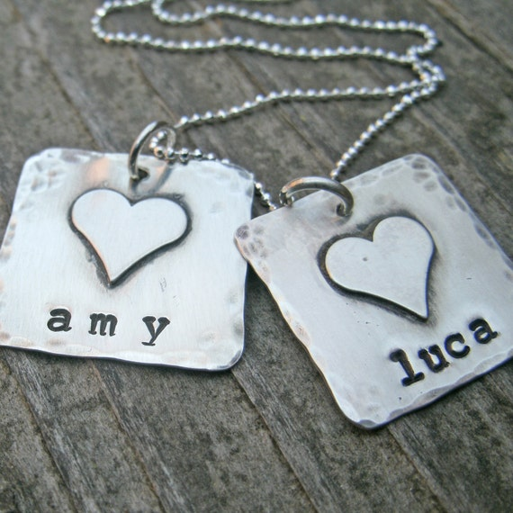 Personalized necklace, Mom necklace, Hand stamped Mommy Necklace, Sterling Silver Name Necklace